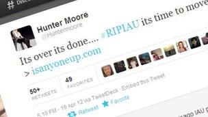 Screenshot of Hunter Moore tweet