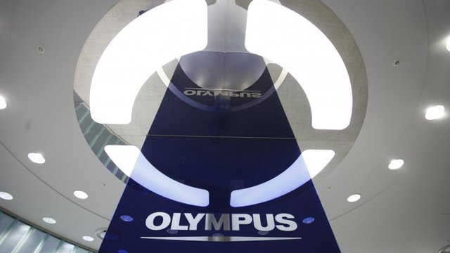 A logo of Japan's Olympus Corp at the company headquarters in Tokyo.