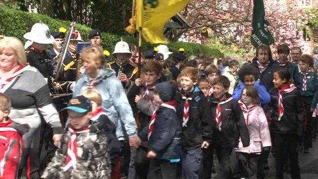 Scouts marching in Basingstoke