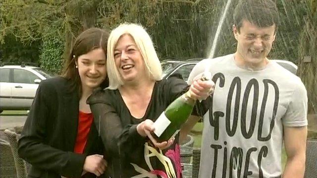 Julie Styles celebrating her £1.6m lottery win