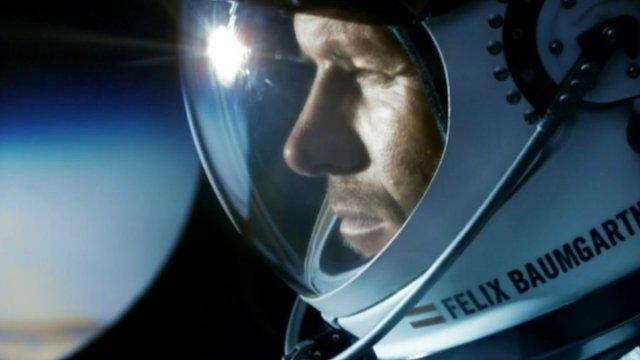 Felix Baumgartner in pressure suit helmet