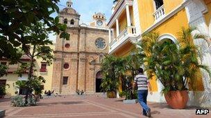 Man walks in Cartagena's old town, November 2009