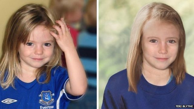 Madeleine McCann, aged 4 and age progression image of her aged 9