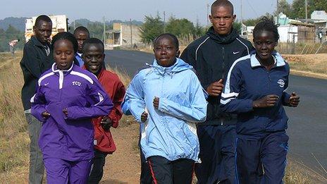 Children running in Iten, Kenya