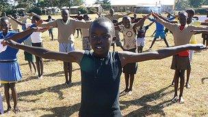 Children exercising in Iten, Kenya