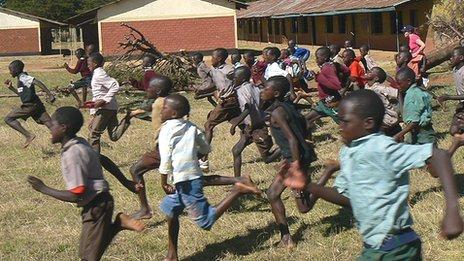 Children running in a race in Iten, Kenya