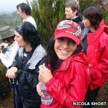 Claire Squires, in red cap, in handout photo from her friend Nicola Short