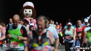Charity runners in the London Marathon