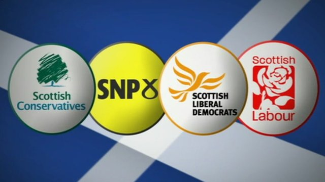 Graphic showing logos for Scottish Conservatives, SNP, Scottish Liberal Democrats and Scottish Labour