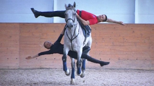 One of the Kremlin Equestrian School's stunts on a horse