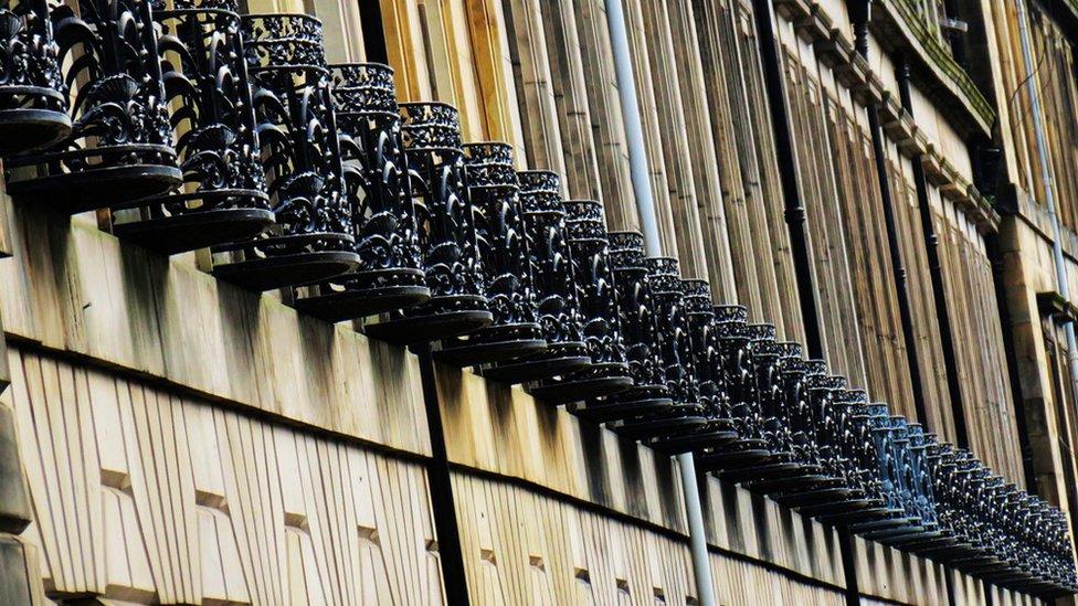Row of balconies