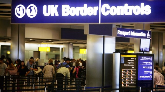 Border control in Terminal 5 of London's Heathrow airport