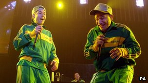The Beastie Boys perform live on stage at Wembley Arena in north London Tuesday 7 December 2004