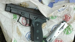 One of the gun thought to have been used to kill Kevin Carroll