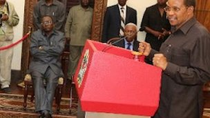 President Jakaya Kikwete announcing the cabinet reshuffle at State House in Dar es Salaam on Friday 4 May 2012