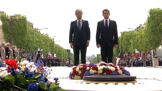 French President-elect Francois Hollande and his defeated rival Nicolas Sarkozy