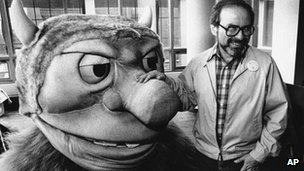 Maurice Sendak and costume from operatic version of Wid Things