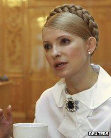 Yulia Tymoshenko in her role as PM in Kiev, March 2009