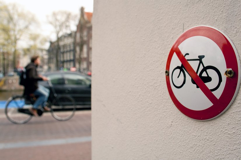 """A """"No cycling"""" sign in Amsterdam"""