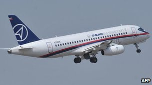 A Sukhoi Superjet 100 on a display flight in Hyderabad, India, 14 March