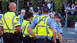 Police officers in Perth on 22 April, 2012