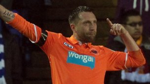 Stephen Dobbie of Blackpool celebrates after scoring the opening goal during npower Championship - Playoff Semi Final 2nd Leg between Birmingham City and Blackpool