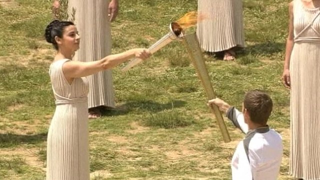Olympic torch being lit in Olympia, Greece
