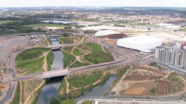 Aerial shot over the Olympic Park