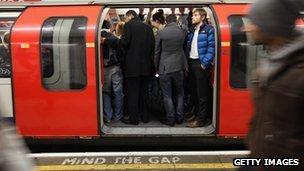 Busy tube train
