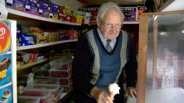 Adam Kelly selling ice cream from his van