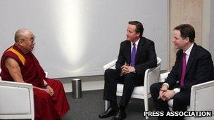 Dalai Lama meets David Cameron and Nick Clegg