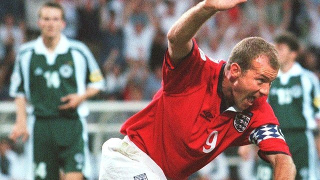 Alan Shearer scores for England against Germany in Euro 2000