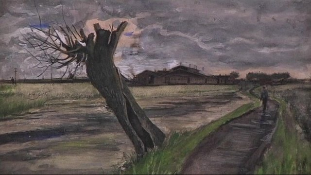 "Van Gogh's ""Pollard Willow"" on display."