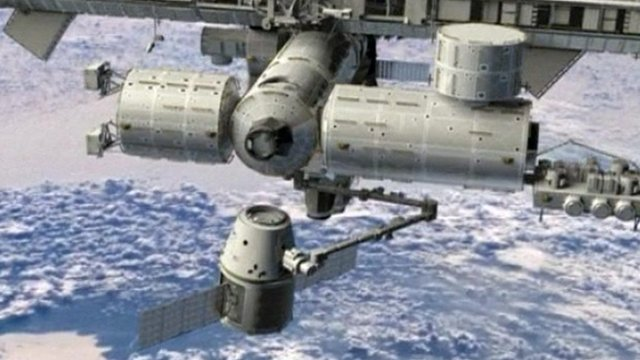 Dragon capsule designed to dock with the International Space Station