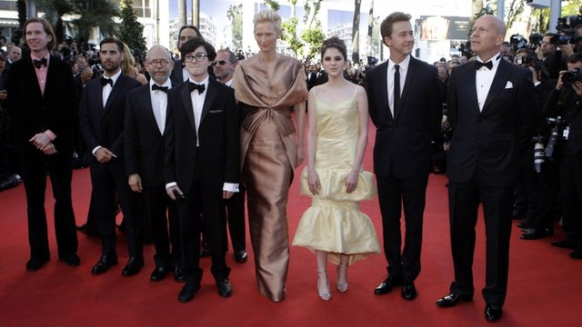 Cast members of Moonrise Kingdom, from left, Director Wes Anderson, Jason Schwartzman, Bob Balaban, Jared Gilman, Tilda Swinton, Kara Hayward, Edward Norton and Bruce Willis arrive for the opening ceremony and screening of Moonrise Kingdom at the 65th international film festival in Cannes