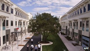 Facebook shows the company's Menlo Park California headquarters