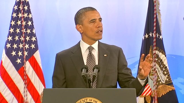 US President Barack Obama unveils a food security plan ahead of the G-8 summit at Camp David, Maryland 18 May 2012
