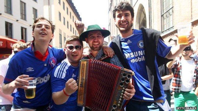 Chelsea fans in Munich