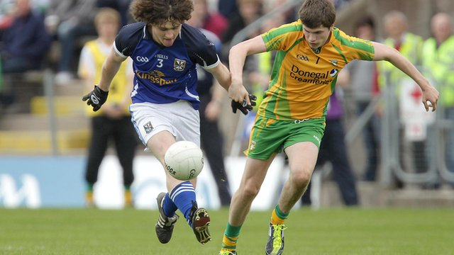 Action from Cavan against Donegal in the Ulster minor Championship