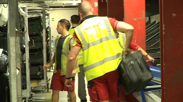 Baggage handlers at Stansted Airport