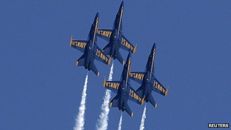 US Navy Blue Angels fly in formation at the Andrews Air Show, Maryland 19 May 2012