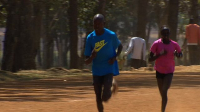 Kenyan athletes training for London 2012