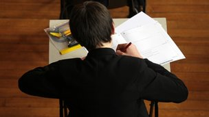 School pupil sitting exam