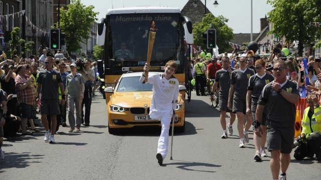 Ben Fox carried the torch through Wootton Bassett