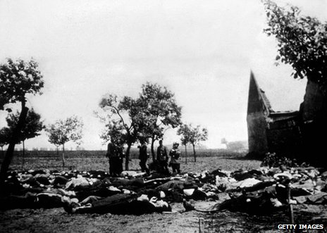 Bodies from the Lidice massacre are laid out for burial, June 1942
