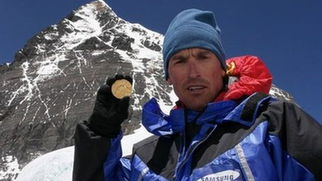Kenton Cool with Olympic gold medal on Everest