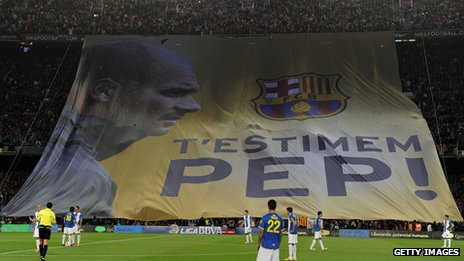 Banner at Guardiola's last match