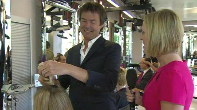 Steph McGovern with hair salon owner Richard Ward