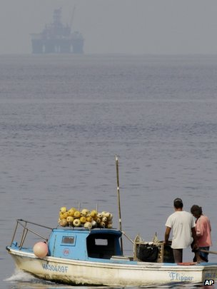A boat in Havana with the oil rig in the background