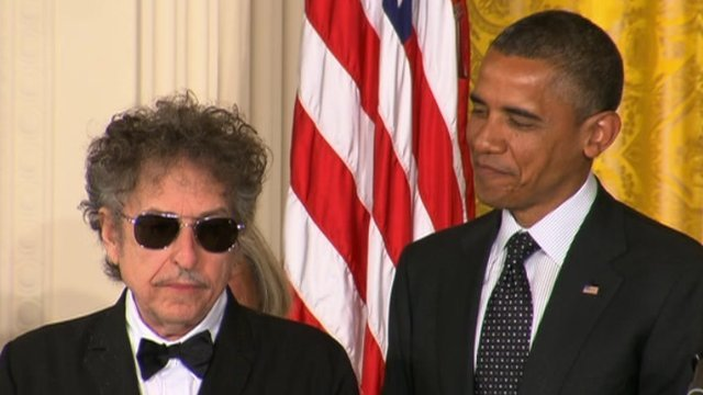 Bob Dylan and President Barack Obama at the White House 29 May 2012